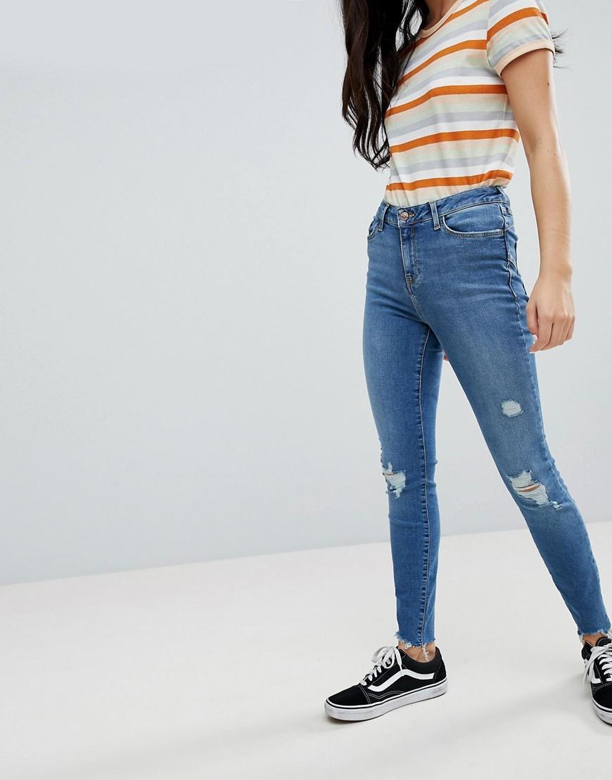 blaue enge Jeans mit Destroyed-Effekten von New Look