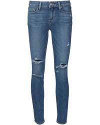 blaue enge Jeans mit Destroyed-Effekten von Paige