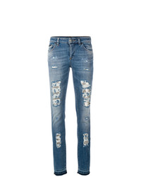 blaue enge Jeans mit Destroyed-Effekten von Philipp Plein