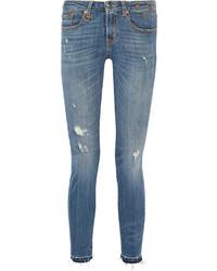 blaue enge Jeans mit Destroyed-Effekten von R 13