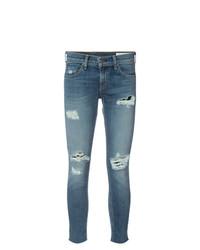 blaue enge Jeans mit Destroyed-Effekten von rag & bone/JEAN
