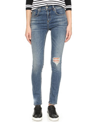blaue enge Jeans mit Destroyed-Effekten von Rag & Bone