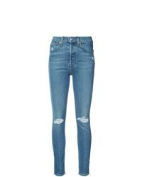 blaue enge Jeans mit Destroyed-Effekten von RE/DONE
