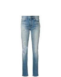 blaue enge Jeans mit Destroyed-Effekten von Saint Laurent