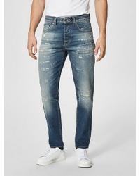 blaue enge Jeans mit Destroyed-Effekten von Selected Homme
