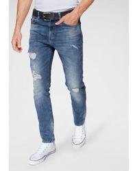 blaue enge Jeans mit Destroyed-Effekten von Superdry