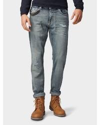 blaue enge Jeans mit Destroyed-Effekten von Tom Tailor
