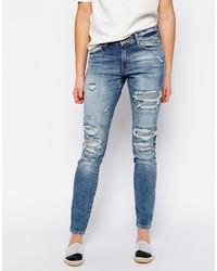 blaue enge Jeans mit Destroyed-Effekten von Vero Moda