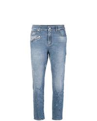 blaue enge Jeans mit Destroyed-Effekten von Versace Jeans