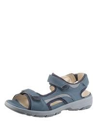 blaue flache Sandalen von Waldläufer