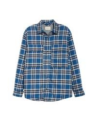 blaue Flanell Shirtjacke mit Schottenmuster