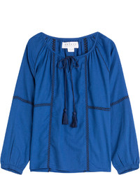 blaue Folklore Bluse