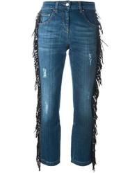 blaue Fransen Jeans
