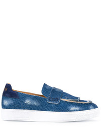 blaue Leder Slipper mit Fransen von MSGM