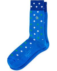 blaue gepunktete Socken