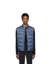 blaue gesteppte ärmellose Jacke von Prada