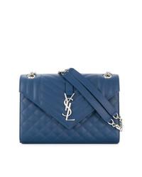 blaue gesteppte Satchel-Tasche aus Leder von Saint Laurent