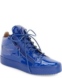 blaue hohe Sneakers aus Leder