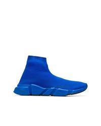 blaue hohe Sneakers aus Segeltuch von Balenciaga