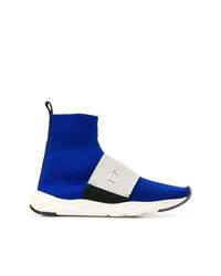 blaue hohe Sneakers aus Segeltuch von Balmain