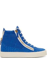 blaue hohe Sneakers