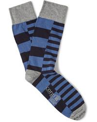 blaue horizontal gestreifte Socken von Corgi