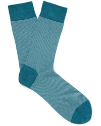 blaue horizontal gestreifte Socken von John Smedley