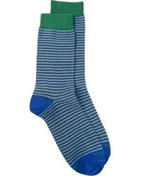 blaue horizontal gestreifte Socken