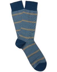 blaue horizontal gestreifte Wollsocken von Pantherella
