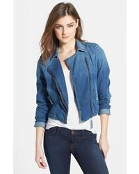 blaue Jeans Bikerjacke