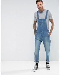 blaue Jeans Latzhose von Asos