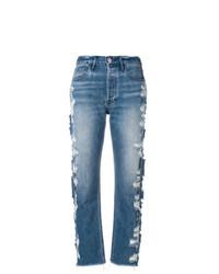 blaue Jeans mit Destroyed-Effekten von 3x1