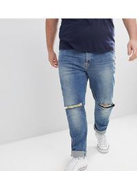blaue Jeans mit Destroyed-Effekten von ASOS DESIGN