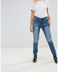 blaue Jeans mit Destroyed-Effekten von Blank NYC
