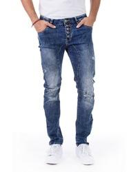 blaue Jeans mit Destroyed-Effekten von BLUE MONKEY