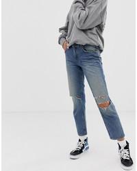 blaue Jeans mit Destroyed-Effekten von Cheap Monday
