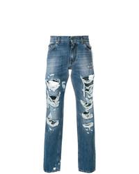 blaue Jeans mit Destroyed-Effekten von Dolce & Gabbana