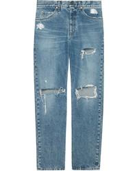 blaue Jeans mit Destroyed-Effekten von Gucci