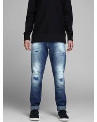 blaue Jeans mit Destroyed-Effekten von Jack & Jones