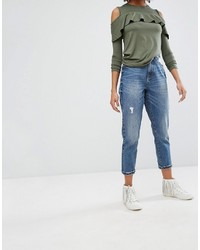 blaue Jeans mit Destroyed-Effekten von Only