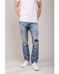 blaue Jeans mit Destroyed-Effekten von Redbridge