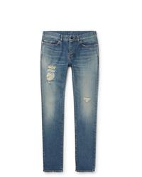 blaue Jeans mit Destroyed-Effekten von Saint Laurent