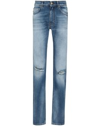 blaue Jeans mit Destroyed-Effekten von Versace