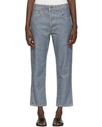 blaue Jeans mit Fischgrätenmuster von 6397