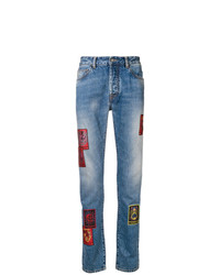 blaue Jeans mit Flicken von Marcelo Burlon County of Milan