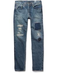 blaue Jeans mit Flicken von orSlow