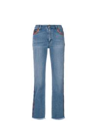 blaue Jeans mit Paisley-Muster von Etro