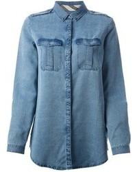 blaue Jeansbluse mit knöpfen von Burberry