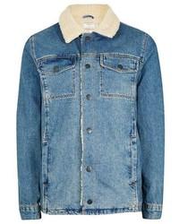 blaue Jeanslammfelljacke