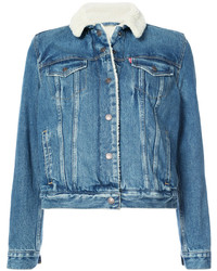 blaue Jeanslammfelljacke von Levi's